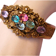 1920's ART DECO / Art Nouveau Enchanting Colors OVAL Rhinestones Hinged Cuff Bracelet