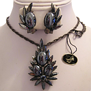 JULIANA Scooped Out Hematite & RHINESTONES Necklace / Pin & Earrings With Original HANG TAG