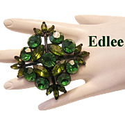 1960's EDLEE Olivine & Emerald Rhinestones Impossible To Find Pin / Brooch
