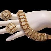 1960's CHAMPAGNE Art Glass & Pale LEMON Rhinestones Bracelet & Earrings