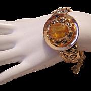 1960's ART NOUVEAU Revival Captivating BOLD Design CITRINE Rhinestone Hinged CUFF Bracelet