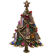 1960's HOLLYCRAFT 5 Candle Rhinestone Christmas Tree pin