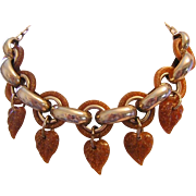 1940's / 50's Dangling Sparkle Leaves Dangle Collar Necklace