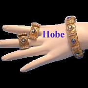 HOBE Rhinestone Hinged CLAMPER Bracelet & Earrings