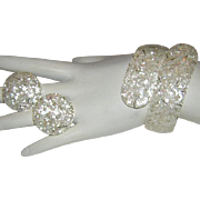 1950's LUCITE Winter White Confetti Bracelet & Earrings