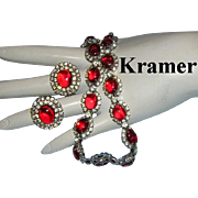 KRAMER Red Glass & Rhinestones Hard To Find Necklace & Earrings - Red Tag Sale Item
