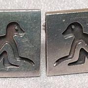 Antonio Pineda 970 Silver Cuff Links - Intaglio Monkeys