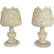 Pair Alabaster Lamps Spain Pair 1950's to 60's
