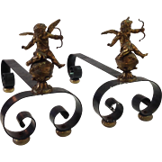French Cupid Andirons in Brass and Iron 1890's