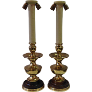 Pair of Italian Wood and Brass Table Lamps Mid-century 30""