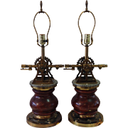 Pair of Nautical Wood and Brass Sexton Table Lamps