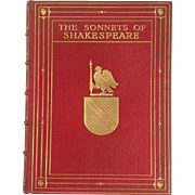 The Sonnets of Shakespeare in Red Gilt Leather Binding
