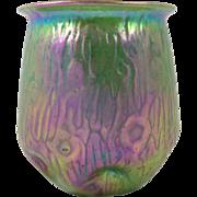 Loetz Peacock Green Glass Vase Bohemian Art Glass