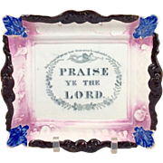 Sunderland Pink Luster Praise The Lord Plate 19th Century