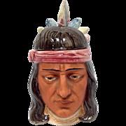 German Majolica Humidor Native American Head Tobacco Jar