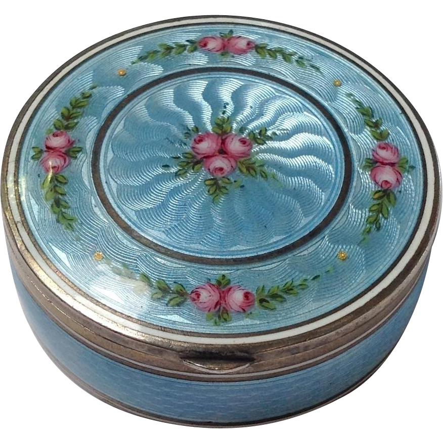 Blue Guilloche 935 Silver Enamel Box Sold On Ruby Lane