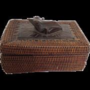 Carved Frog Basket Box