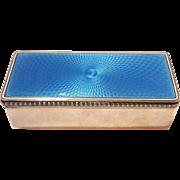 Blue Guilloche Enamel Sterling Box England c. 1917