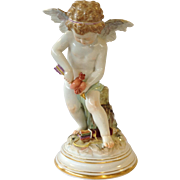 Meissen Devinsenkinder Large Cupid With Two Hearts Porcelain Figure