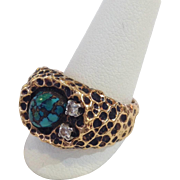 Diamond And Green Turquoise Ring 14k Size 7.5