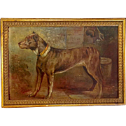 Standing Dog Oil Painting 19th C.
