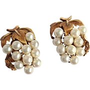 Pearl Grape Cluster Earrings 14k