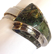 Taxco Turquoise and  Lapis Cuff Sterling Spring Cuff Bracelet