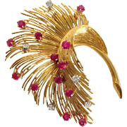 Large Retro Diamond And Ruby Feather Plume Pin 18k