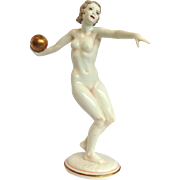 Nude Figure Hutschenreuther Porcelain With Gold Ball 1940's