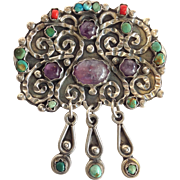 Amethyst And Turquoise Mexican Sterling Pin