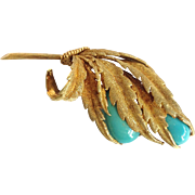Turquoise Leaf Pin Signed Ornata 18k