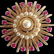 Sunburst Pearl Pendant or Pin 14k Vintage