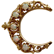 Opal Crescent Gold Pin or Pendant 14k