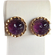 Amethyst Carved Round Earrings 14k