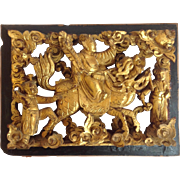 Chinese Gilt Wood Architectural Carving Of Mounted Figure With Two Companions 19th c.