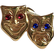 Tie Tack Gold Comedy And Tragedy Theater Mask 14k