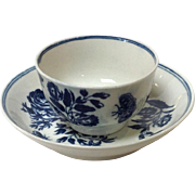 Worcester Cup And Saucer Caughley Blue and White 18th Century