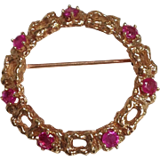 Ruby 14K Gold Circular Pin