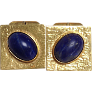 Lapis 14K Gold Cuff Links Square