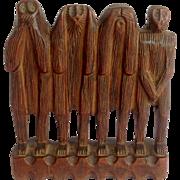 Folk Art Wise Monkey Wood Carving