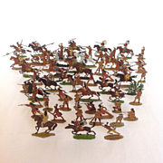 Cowboys and Indians Metal Painted Toys 59 Pieces