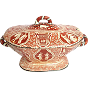 Red Greek Pattern Soup Tureen Spode Clobbered Black