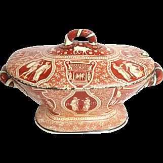 Red Greek Pattern Soup Tureen Spode Clobbered Black