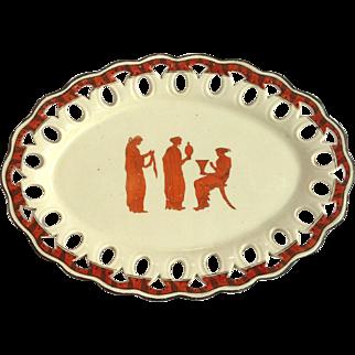 Greek English Creamware Pierced Rim Tray 1800's