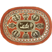 "Greek Pattern Platter Pierced Edged Red Clobbered Brown 10"" Circa 1825"
