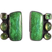 Amy Kahn Russel Green Stone Earrings Sterling
