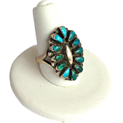 Turquoise Flower Native American Zuni Ring Signed Sterling Size 7