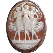 Three Graces Sterling Cameo Pin or Pendant