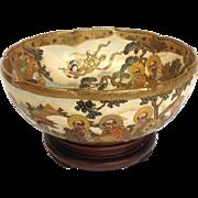 """Satsuma Gilt Ancestors Bowl Antique Signed 10"""""""