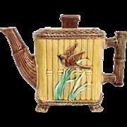 Majolica Teapot Bamboo Hexagon with Bird